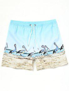 شورت سباحة برباط مزين بطبعة طائر البجع - أزرق سماوي Xl