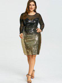 Plus Size Mesh Insert Sequins Party Dress