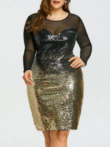 31% OFF] 2019 Plus Size Mesh Insert Sequins Party Dress In COLORMIX ...