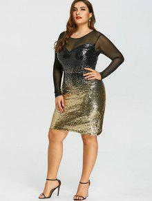 c14af164485 31% OFF  2019 Plus Size Mesh Insert Sequins Party Dress In COLORMIX ...