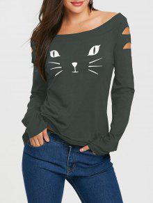 القط الوجه طباعة كم طويل ممزق تي شيرت - أخضر اللون الرمادي M