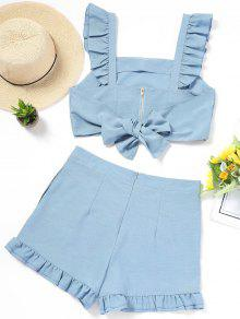 Back Tied Ruffle Top and High Waisted Shorts Set