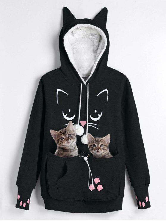 Plus Size Katze Tragetasche Pocket Hoodie - Schwarz 2XL
