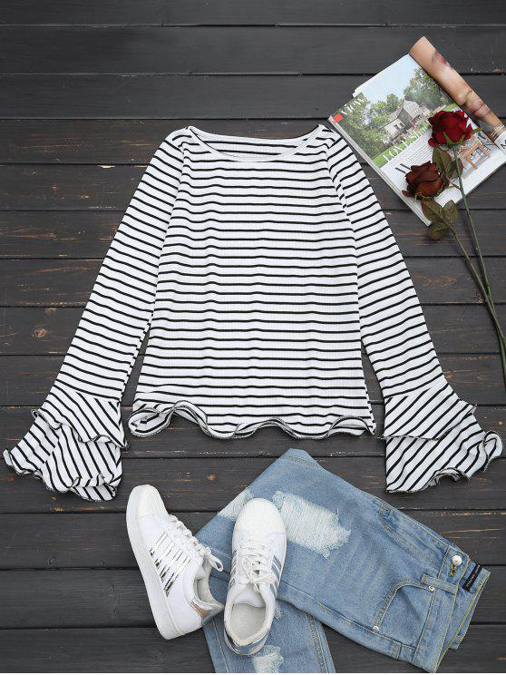 Striped Ruffles Tiered Flare Sleeve Tee - Raya XL
