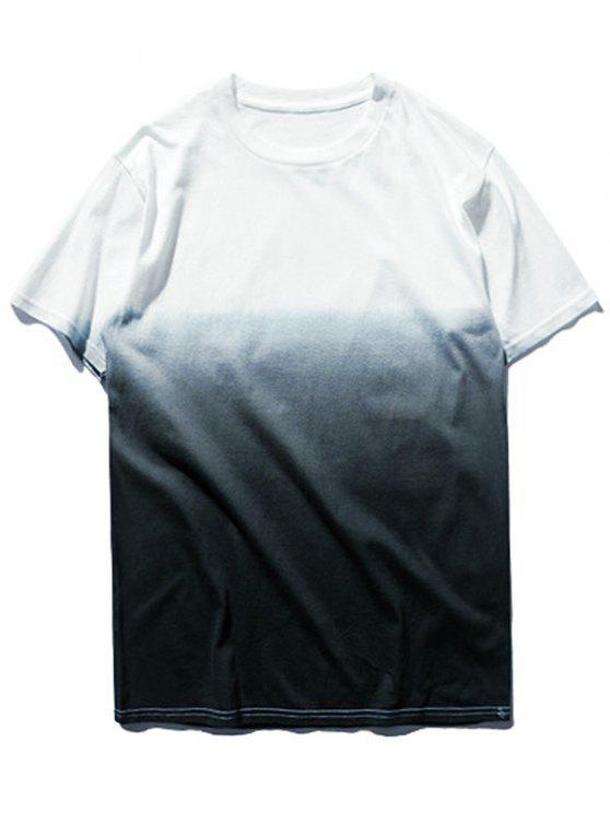 women Ombre Dip Dye Tee - GREY AND WHITE XL