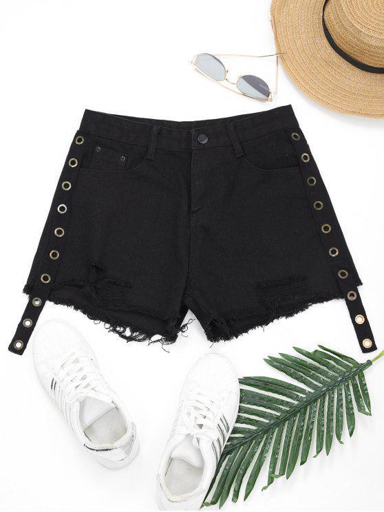 Pantalones cortos de mezclilla dobladillo deshilachado con adornos - Negro L