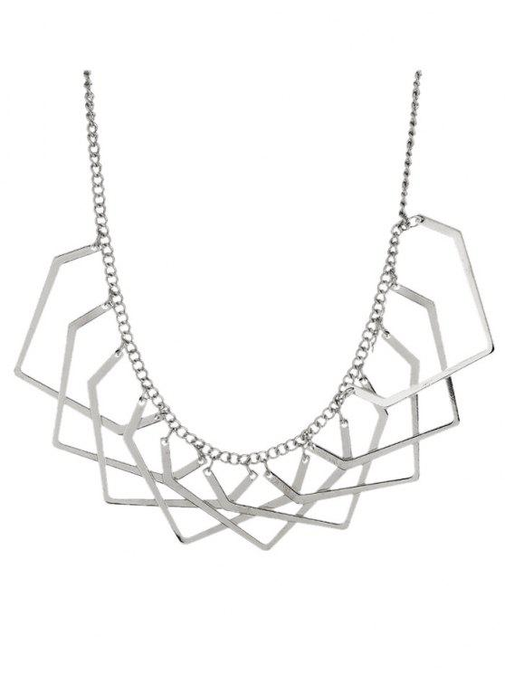 lady Geometric Charm Necklace - SILVER