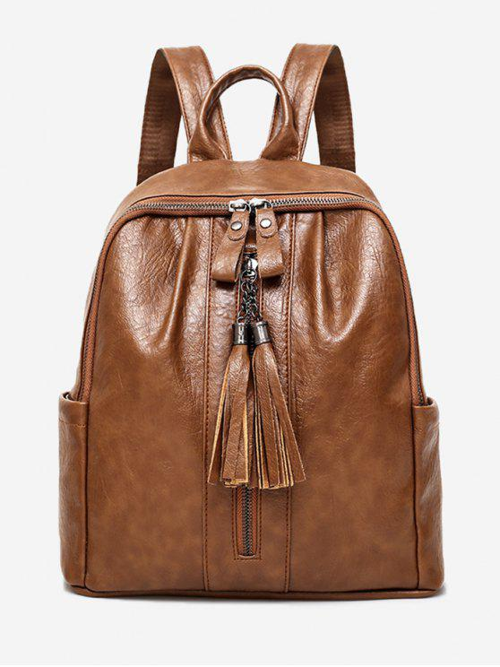 lady PU Leather Tassels Backpack - BROWN