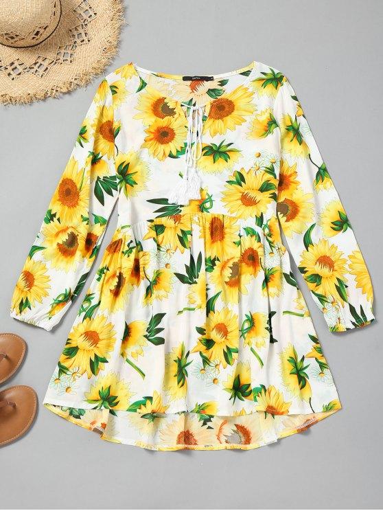 affordable Tassels High Low Sunflower Mini Dress - YELLOW S