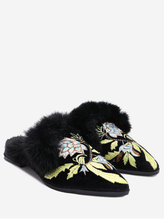 Chaussures mules brodées fleur - Noir 38