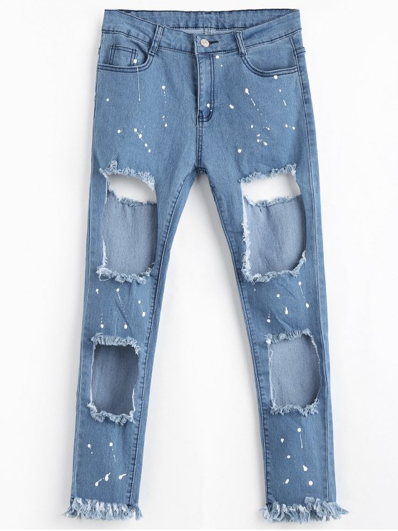 Zipper Fly effiloché Cut Out Jeans - Bleu L
