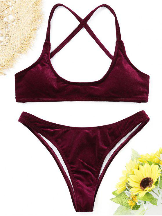ladies Velvet High Cut Bikini Set - PURPLISH RED S