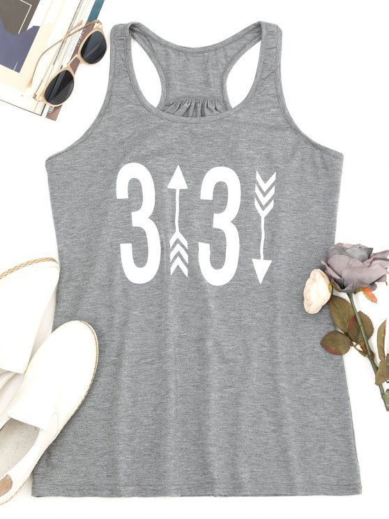 trendy Racerback Figure Printed Tank Top - GRAY M