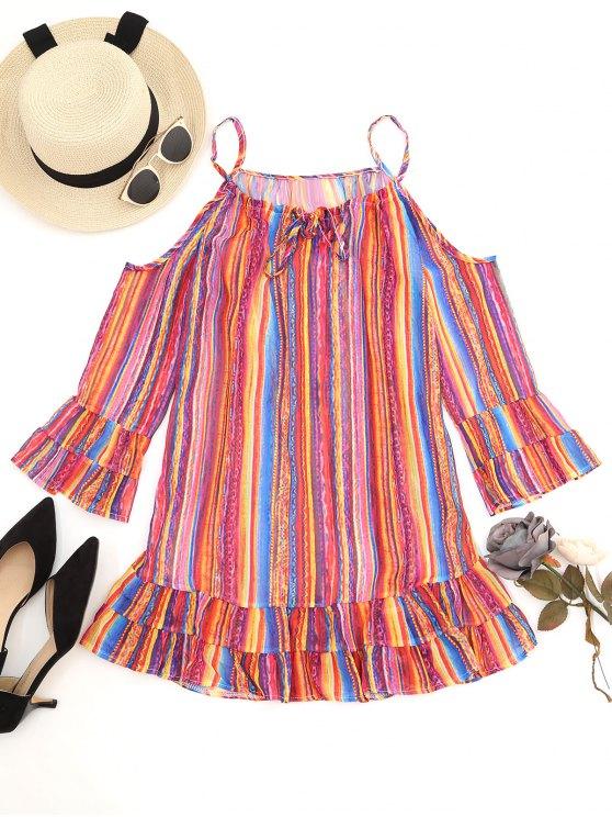 d136d13203d2ab 2019 Stripes Cold Shoulder Ruffle Mini Dress In JACINTH XL