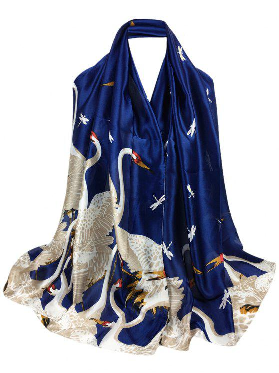 hot Simple Light Elegant Swan Printed Sheer Scarf - CADETBLUE