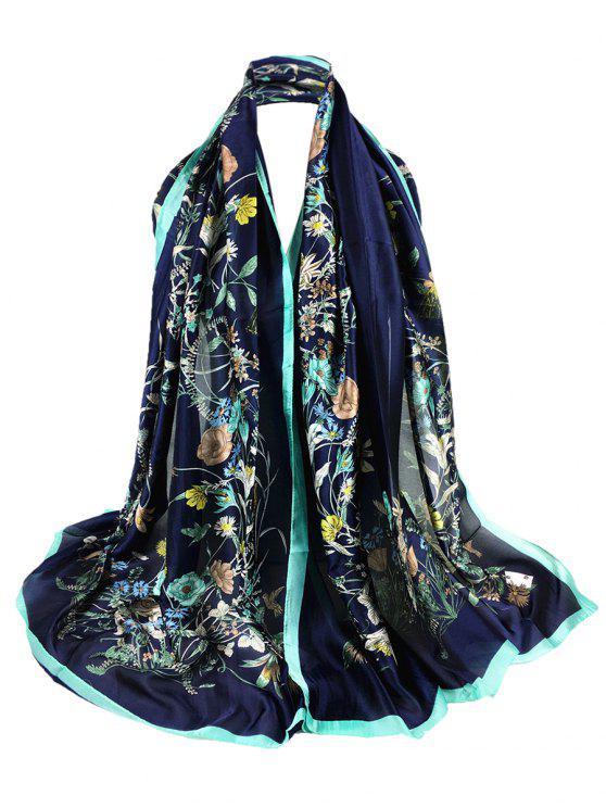 trendy Soft Light Elegant Floral Printed Sheer Scarf - CADETBLUE