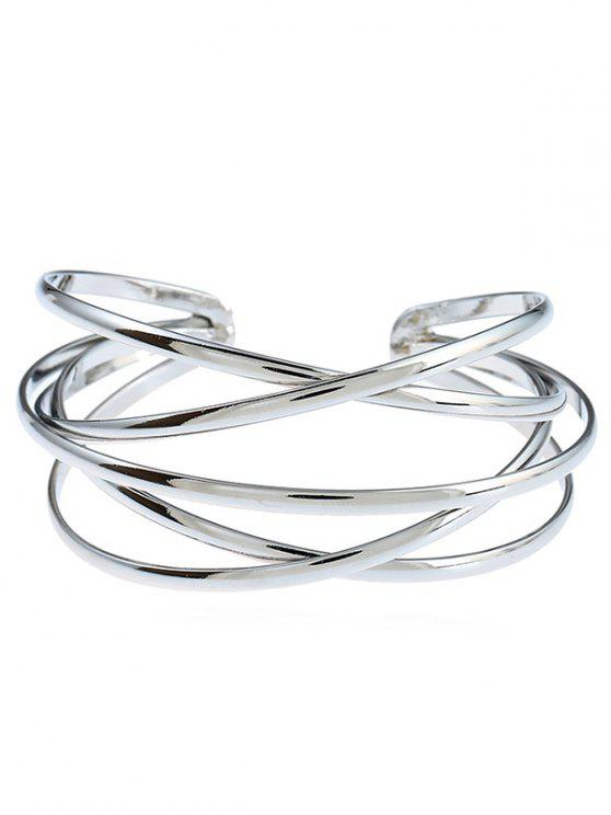Pulsera Geométrica Multicapa simple - Plata