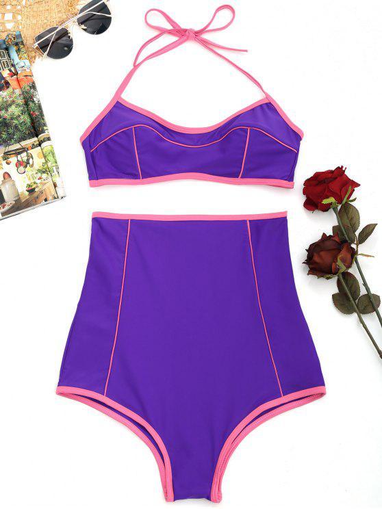 outfits Halter High Waisted Bikini Set - PURPLE S