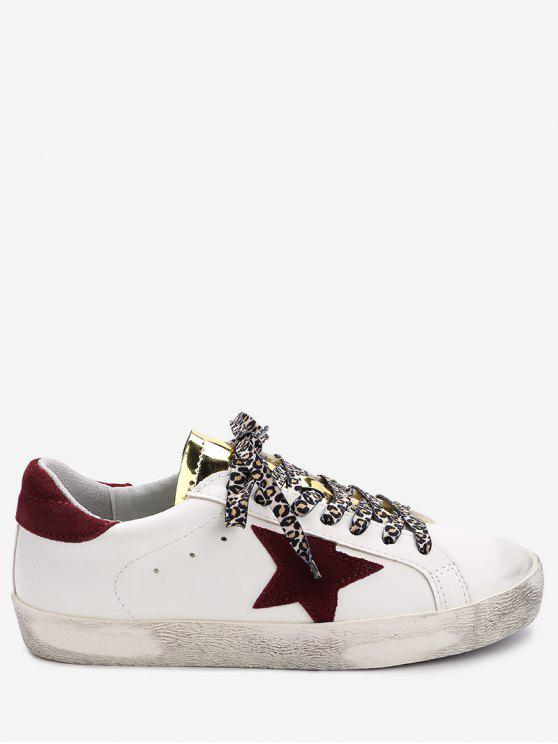 fancy Star Patched Metallic Tongue Skate Shoes - WHITE 36