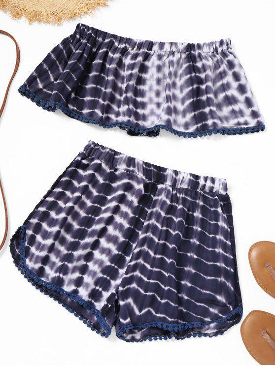 unique Tie Dye Strapless Top and Shorts Set - CERULEAN M