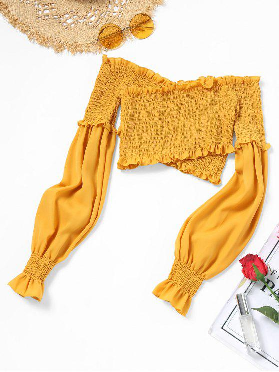 womens Off Shoulder Ruffles Smocked Crop Blouse - YELLOW M