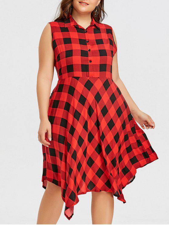 فستان بدون أكمام من قماش المربعات ذو مقاس كبير - أحمر 5XL