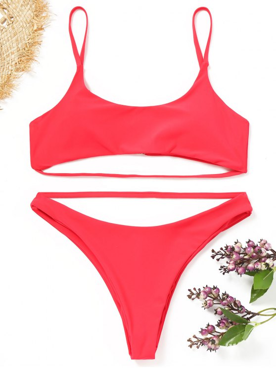 unique Strappy Padded Bikini Set - RED M
