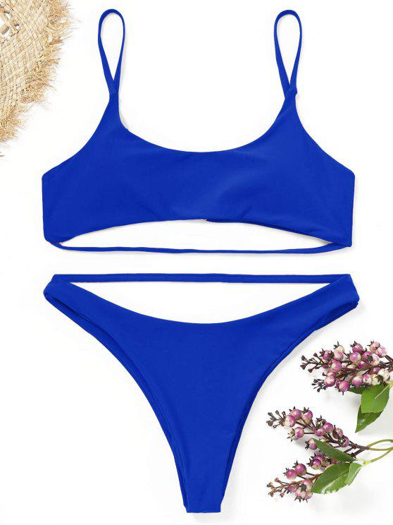 shops Strappy Padded Bikini Set - ROYAL BLUE S