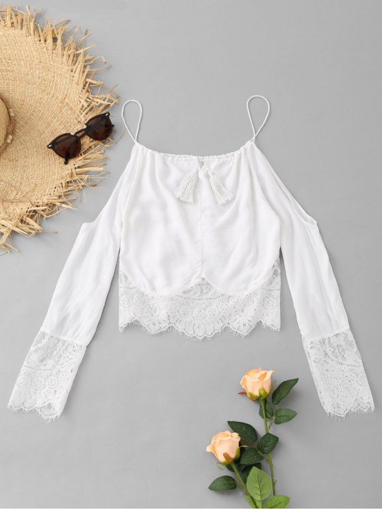 unique Lace Panel Tassels Cold Shoulder Top - WHITE L