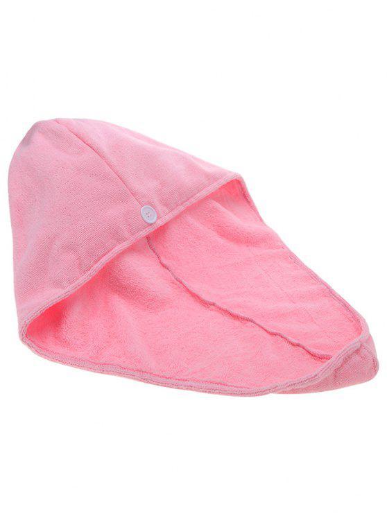 Toalha de secagem rápida de cabelo Turbante de cabelo seco absorvente - Rosa