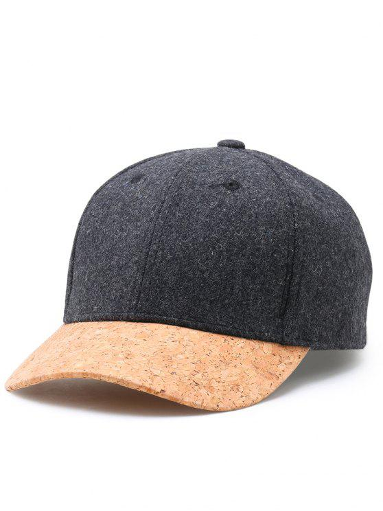 fancy Simple Line Embroidery Faux Wool Baseball Cap - DARK GRAY