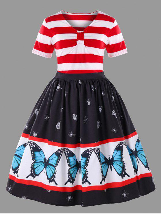 Plus Size Butterfly Pattern Swing Dress Red And White Plus Size