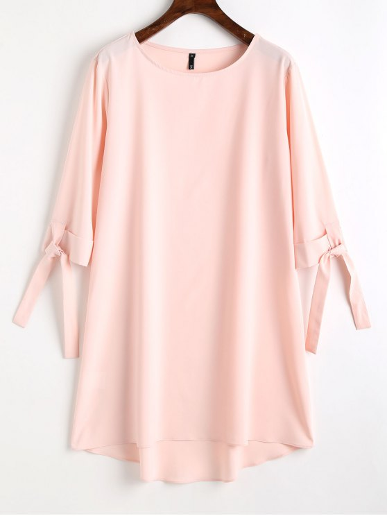 women High Low Tied Sleeve Mini Dress - PINK S