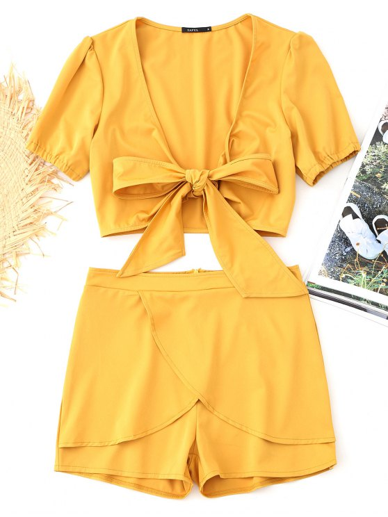 shops Bowknot Cropped Wrap Top and Tiered Shorts Set - MUSTARD L