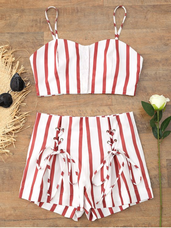 trendy Cropped Button Up Stripes Top and Lace Up Shorts Set - STRIPE M