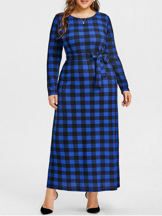 فستان الحجم الكبير ماكسي - أزرق 5XL