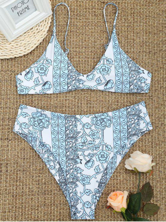 بدلة السباحة الحجم الكبير عالية القطع طباعة الأزهار المصغرة - أزرق فاتح 2XL