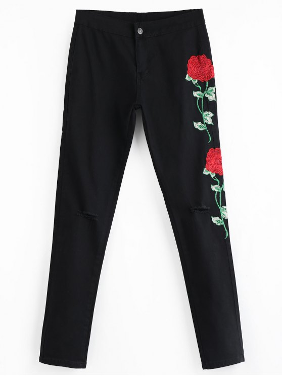 lady Floral Embroidered Patch Ripped Pants - BLACK L