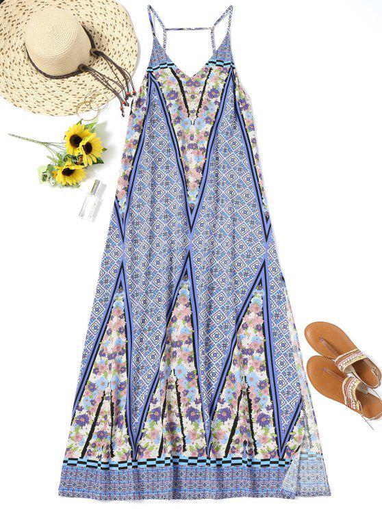 فستان الشاطئ طويل جانب الانقسام طباعة - مزيج ملون XL