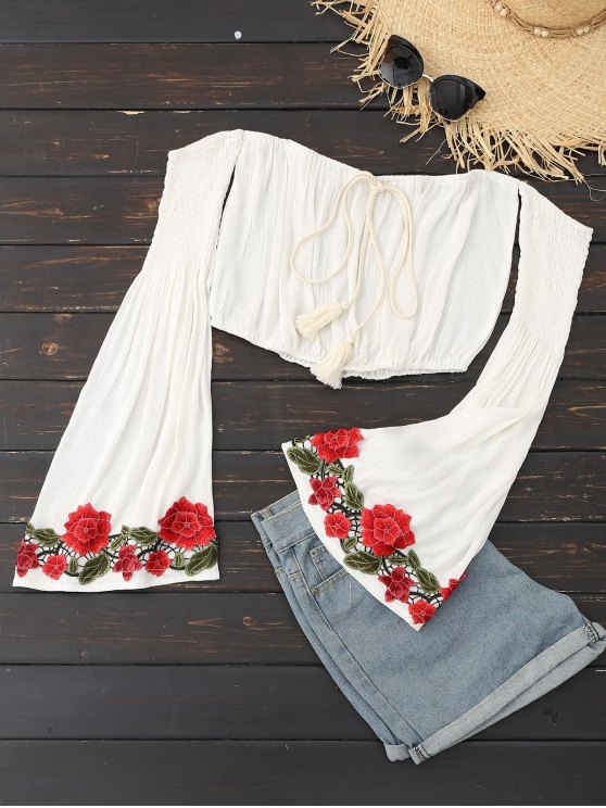hot Embroidered Patch Off Shoulder Bell Sleeve Top - WHITE L