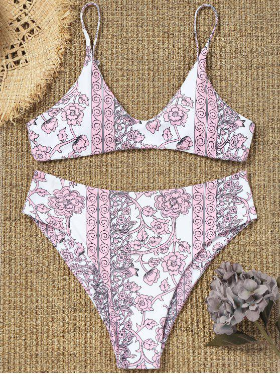 best Tiny Floral High Cut Plus Size Bathing Suit - PINK XL