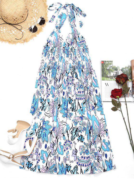 Empire Taille Blumen Rückenfreies Halter-Kleid - Blumen L