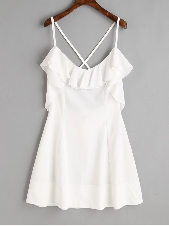 ladies Criss Cross Back Ruffle Mini Dress - WHITE M