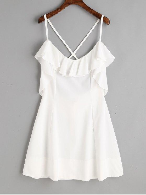 lady Criss Cross Back Ruffle Mini Dress - WHITE L