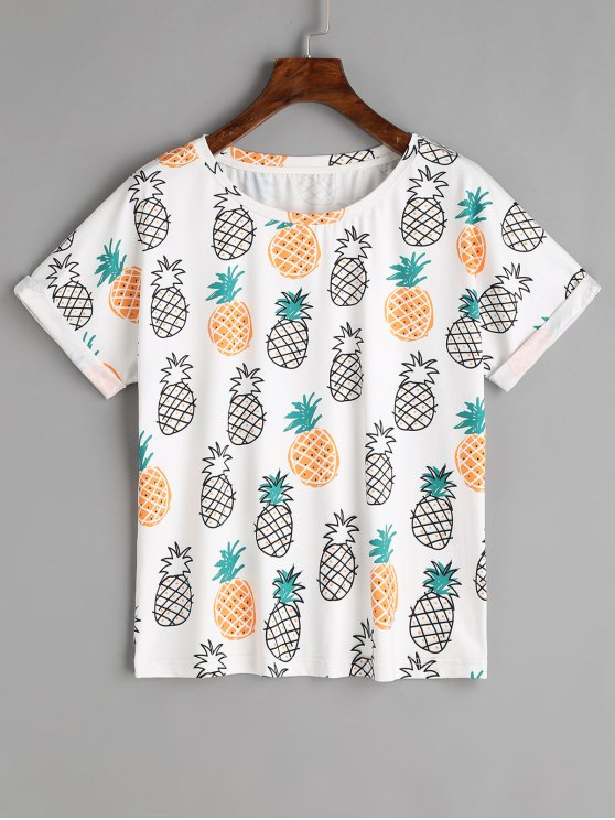 outfits Rolled Up Sleeve Fruits T Shirt - WHITE L