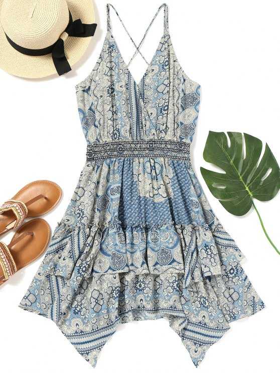chic Tiered Printed Handkerchief Slip Dress - COLORMIX XL