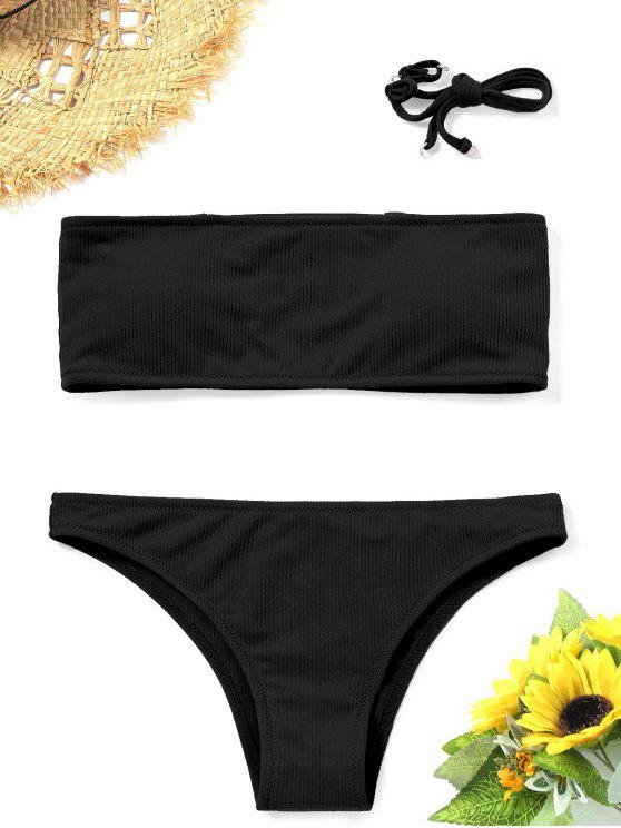 hot Ribbed Texture Bandeau Bikini Set - BLACK M