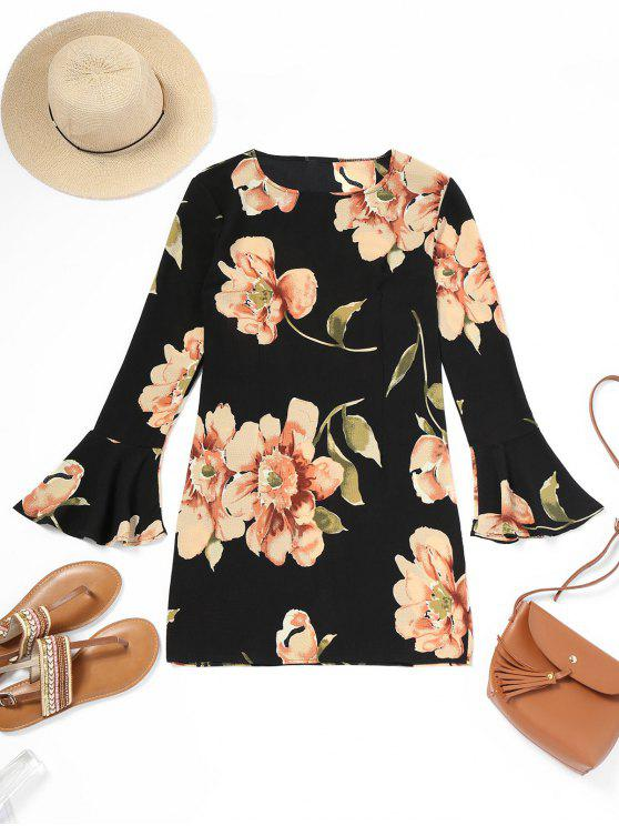 Flare Sleeve Floral Print Shift Dress - Preto S