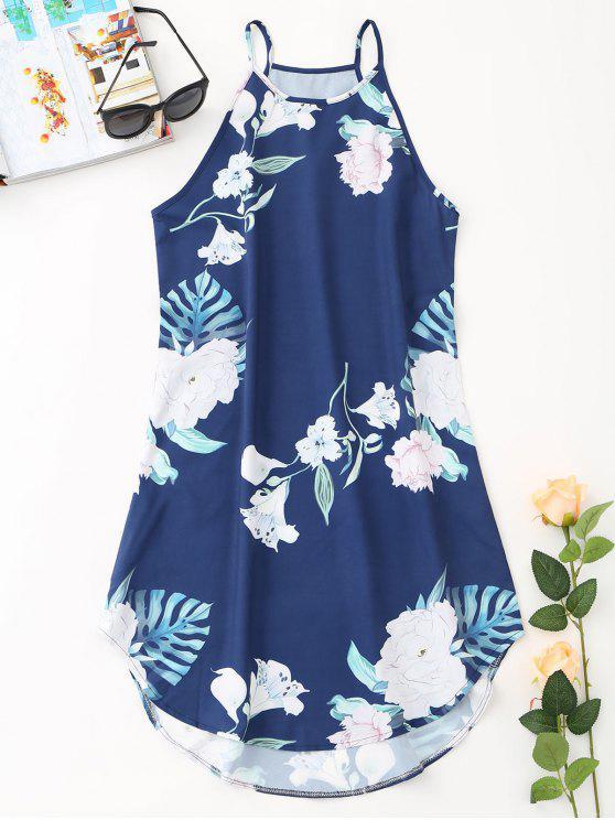 Mini vestido de playa floral tropical - Cadetblue M