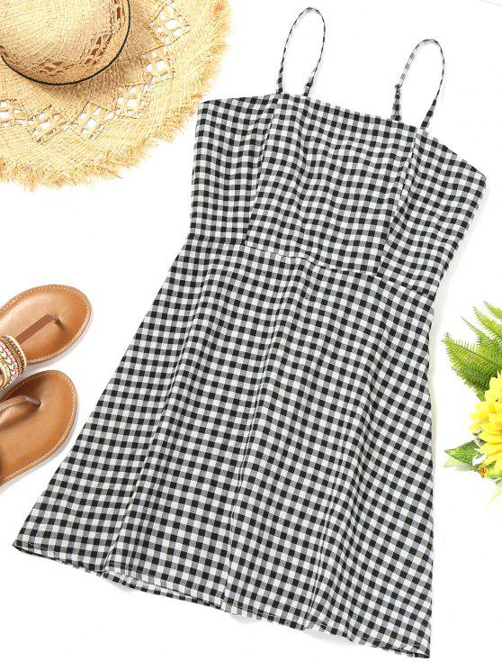 trendy Smocked Back Gingham Slip Beach Dress - PLAID M